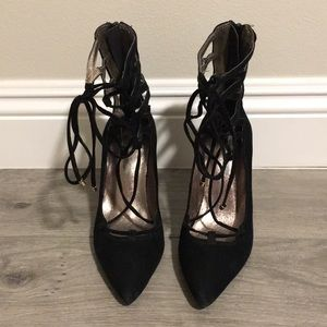 Jeffrey Campbell x Free People Black Lace Up Heels